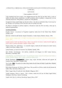LITERATURA COMPARADA: ESPACIOS INTERNACIONALES E INTERCULTURALIDAD LITERARIA