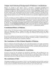 Origins and historical background of pakistan constitutions