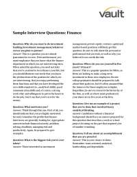 Interview questions finace