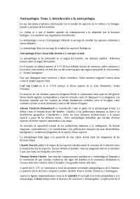 Antropología: Tema 1, introducción a la antropología.