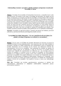 Article mouna karoui tendances marketing 2016Understanding Consumers' perceptions, attitudes and degree of importance towards food traceability in Tunisia