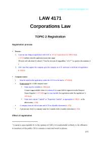 Corporation Law Revision for exam notes