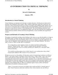 critical thinking and pedagogy for highschool students