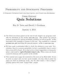 Probability and Stochastic Processes 3rd edition Roy D Yates Quiz solution manual