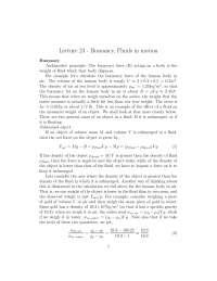 Buoyancy - Fluid Mechanics - Lecture Handout