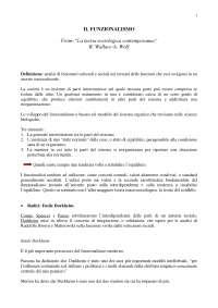 """IL FUNZIONALISMO  From: """"La teoria sociologica contemporanea"""" R. Wallace-A. Wolf"""