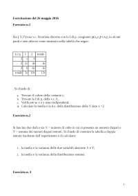 esercizi di stastistica Distribuzione della variabile aleatoria X  Tabella per il calcolo della media e della varianza