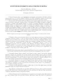 Istituzioni di diritto dell'Unione Europea - Appunti Prof. G.A. Benacchio - M. Dani - UniTN, Appunti di Diritto Europeo