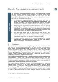 Roles and objectives of modern central bank