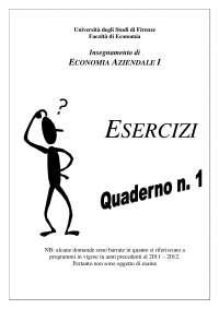 Quaderno esercizi Economia aziendale prof. Manetti
