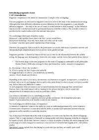 """Riassunto libro """"Introducing pragmatics in use"""""""