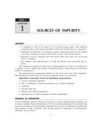sorces of impurities