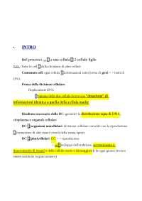 Test ammissione Medicina - Appunti sulla Divisione cellulare