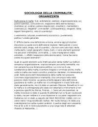 Appunti prima lezione sociologia della criminalità organizzata prof Sciarrone