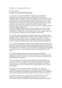 """Analisi del testo di """"Contro la società del benessere"""" di Pier Paolo Pasolini"""