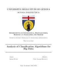 Analisi di algoritmi di classificazione per big data