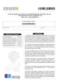Prova EBSERH- Enfermeiro / SERGIPE