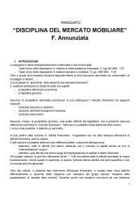"""Riassunto """"La disciplina del mercato mobiliare"""" - F. Annunziata"""