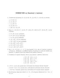 Esercizi su isiemi e funzioni -Scienze della formazione primaria- Bicocca