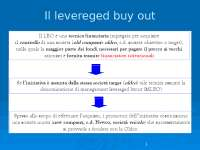 Appunti sul leverage buy out