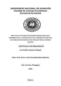 Impacto de los Fondos de Inversión Inmobiliarios en la cartera de activos inmuelbes de renta de los Fondos Institucionales del Paraguay, Guías, Proyectos, Investigaciones de Economía