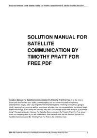 solution manual for satellite