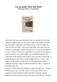 Tesina maturità sul crollo borsistico statunitense del 1929