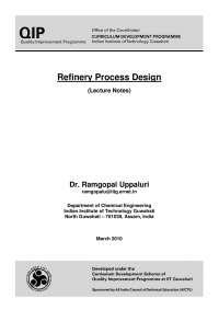 Refinery Process Design