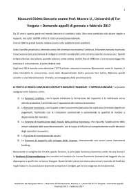 Riassunti Lezioni di Diritto Bancario, Paolo Ferro-Luzzi, per esame Morera U., Università di Tor Vergata + Domande esami 2017