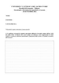 Esercizi e temi d'esame Metodologie 1 Grumo, Unicatt