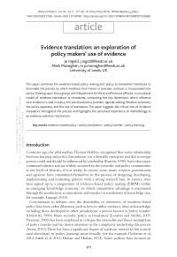 Evidence translation: an exploration of policy makers' use of evidence