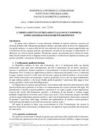 L'ORDINAMENTO GIUDIZIARIO ITALIANO E CANONICO: LINEE GENERALI ED ELEMENTI DISTINTIVI