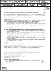 PROYECTOS TECNICOS I. examen 2015