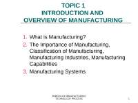 introduction to manufacture