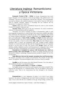 Apuntes de la asinatura de Literatura Victoriana. Facultad de Filología. USAL