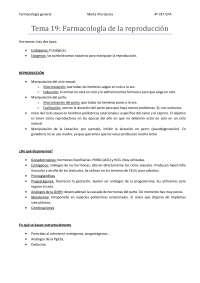 Tema 19: Farmacología de la reproducción