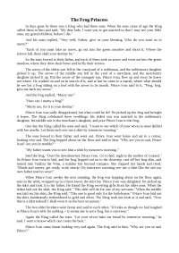 The Frog Princess топики по зарубежной литературе на английском языке