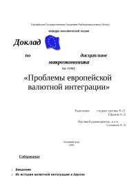 Проблемы европейской валютной интеграции доклад по валютным отношениям