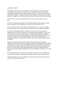 Olympic Games доклад по физкультуре и спорту на английском языке