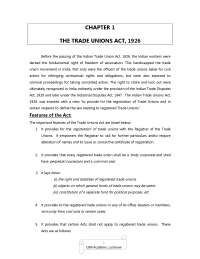 Trade Unions Act 1926, Notes