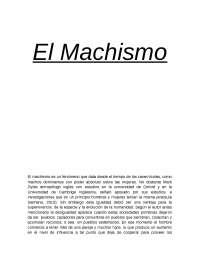 ensayo sobre el machismo