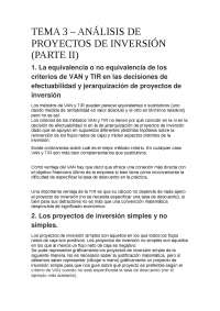 TEMA 3  -  ANÁLISIS DE PROYECTOS DE INVERSIÓN (PARTE II)