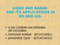 LIDAR AND RADAR ITS APPLICATIONS IN RS & GIS