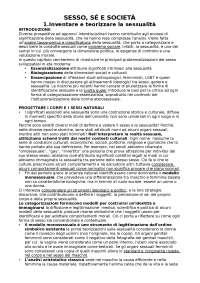 Riassunto Sesso, sè e società- Rinaldi. Sociologia generale