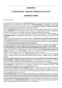 RIASSUNTO La Società Post Crescita - Gianpaolo Fabris  - SOCIOLOGIA DEI CONSUMI