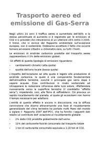 Tesina sull'emissione dei gas serra nel trasporto aereo