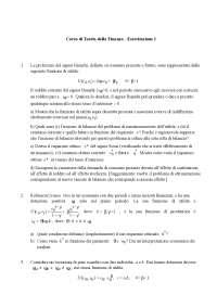 Teoria della Finanza (Asset Pricing) - Esercitazione 1, Esercizi di Finanza