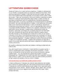 LETTERATURA FRANCESE- STORIA DEL QUEBEC