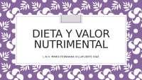 DIETA  Y VALOR NUTRIMENTAL