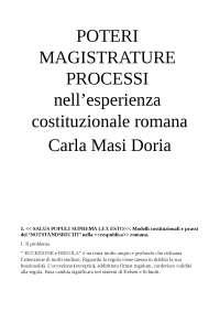 Riassunto schematico Poteri Magistrature C. Masi